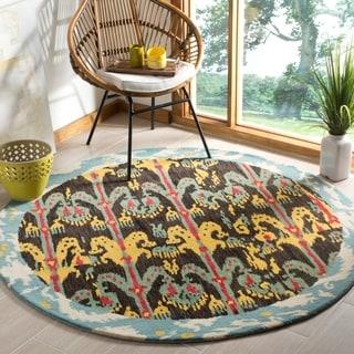 Safavieh Handmade Ikat Charcoal Grey/ Blue Wool Rug (6' Round)