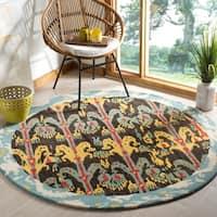 Safavieh Handmade Ikat Charcoal Grey/ Blue Wool Rug - 6' x 6' Round