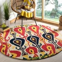 Safavieh Handmade Ikat Cream/ Green Wool Rug - 6' x 6' Round
