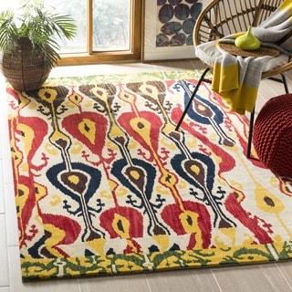Safavieh Handmade Ikat Cream/ Green Wool Rug (6' Square)