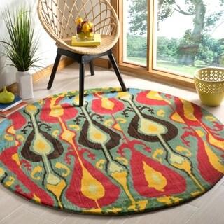 Safavieh Handmade Ikat Blue/ Green Wool Rug (6' Round)