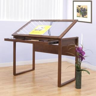 Offex Ponderosa Glass Topped Desk (Sonoma Brown)