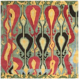 Safavieh Handmade Ikat Blue/ Green Wool Rug (6' Square)