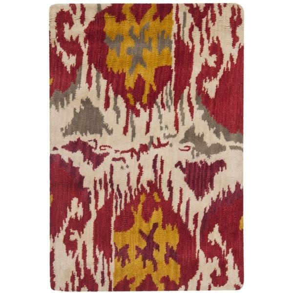 Safavieh Handmade Ikat Ivory/ Red Wool Rug - 2' x 3'