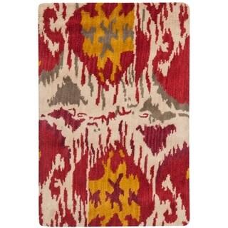 Safavieh Handmade Ikat Ivory/ Red Wool Rug (2' x 3')