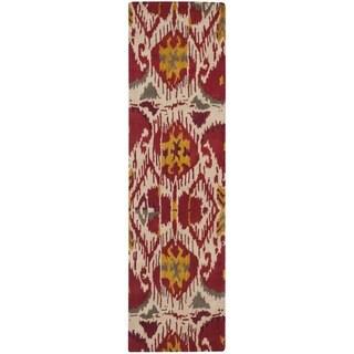 "Safavieh Handmade Ikat Ivory/ Red Wool Rug - 2'3"" x 8'"