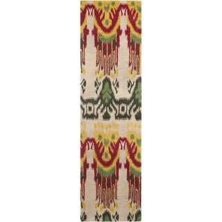 Safavieh Handmade Ikat Beige/ Yellow Wool Rug (2'3 x 8')