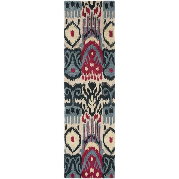 "Safavieh Handmade Ikat Beige/ Blue Wool Rug - 2'3"" x 8'"