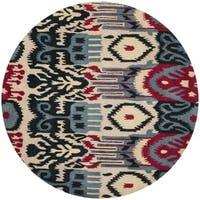 Safavieh Handmade Ikat Beige/ Blue Wool Rug - 6' x 6' Round