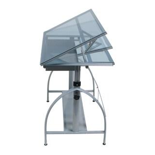 Offex Avanta Drafting Desk (Silver/ Blue Glass)