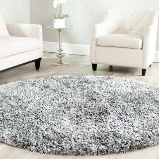 Safavieh Hand-tufted Malibu Shag Silver Polyester Rug (7' Round)