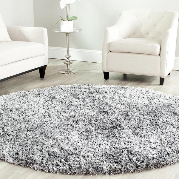 Safavieh Handmade Malibu Shag Silver Polyester Rug - 7' x 7' Round