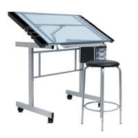 Offex Office 2-piece Blue Glass and Silver Artists Vision Craft Station and Stool