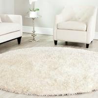 Safavieh Handmade Malibu Shag White Polyester Rug (7' Round)