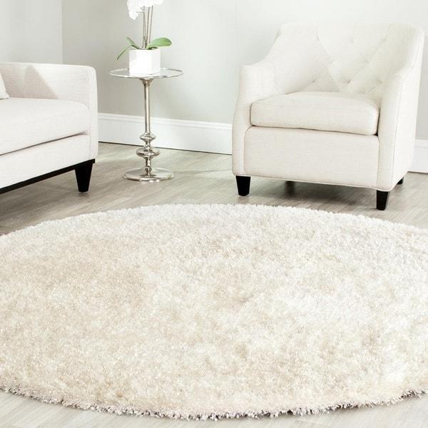 Safavieh Handmade Malibu Shag White Polyester Rug 7 X 7