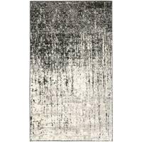 Safavieh Retro Mid-Century Modern Abstract Black/ Light Grey Distressed Rug - 2'6 x 4'