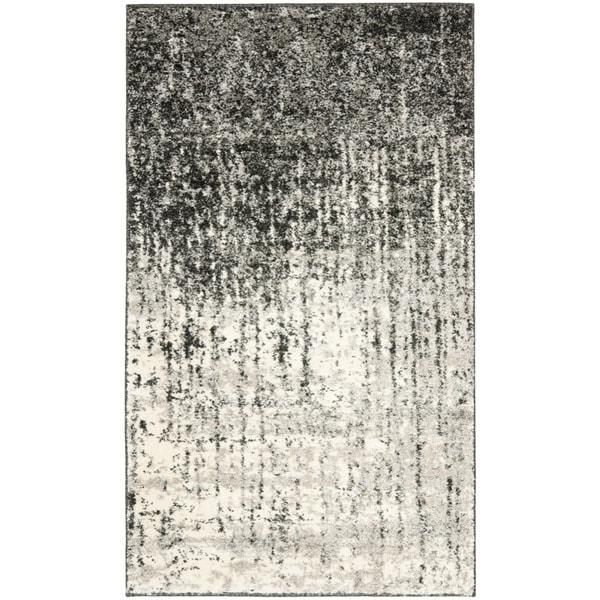 Safavieh Retro Mid-Century Modern Abstract Black/ Light Grey Distressed Rug (2'6 x 4')