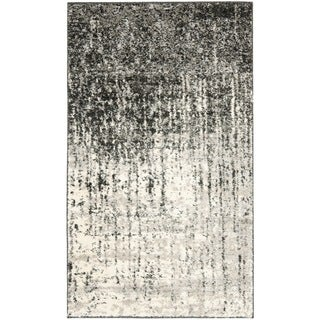 Safavieh Retro Mid-Century Modern Abstract Black/ Light Grey Distressed Rug (3' x 5')