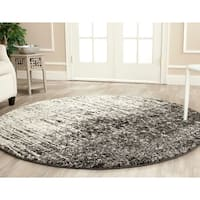 Safavieh Retro Mid-Century Modern Abstract Black/ Light Grey Distressed Rug - 6' x 6' Round