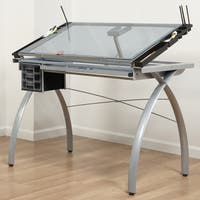Offex Contemporary Blue Tempered Glass Top Silver Futura Craft Station