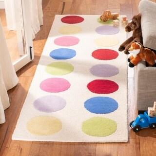 "Safavieh Handmade Children's Pokka Dots Ivory N. Z. Wool Rug - 2'3"" x 7'"