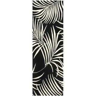 Safavieh Handmade New Zealand Wool Ferns Black Rug (2'6 x 8')