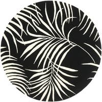 Safavieh Handmade New Zealand Wool Ferns Black Rug - 6' x 6' Round