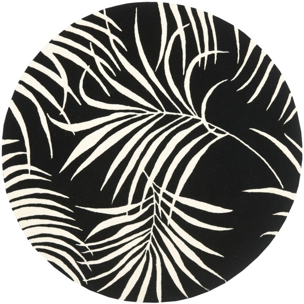Safavieh Handmade New Zealand Wool Ferns Black Rug (6' Round)