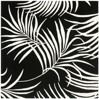 Safavieh Handmade New Zealand Wool Ferns Black Rug (6' Square)