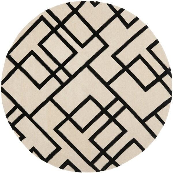 Safavieh Handmade Modern Deco Beige/ Black New Zealand Wool Rug (6' Round)