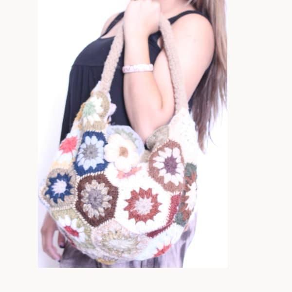 Floral Crochet Wool Sling Bag (Nepal)