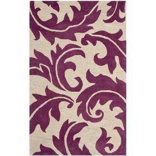 Safavieh Handmade Soho Purple/ Beige New Zealand Wool Rug