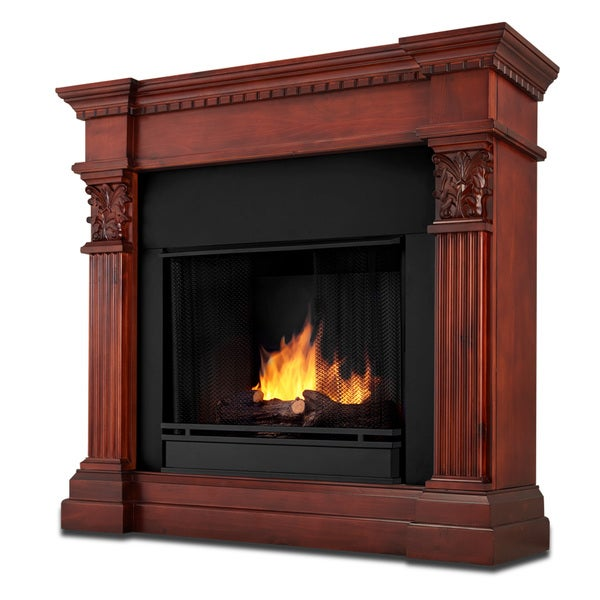 Gabrielle Real Flame Dark Mahogany Ventless Gel Fireplace