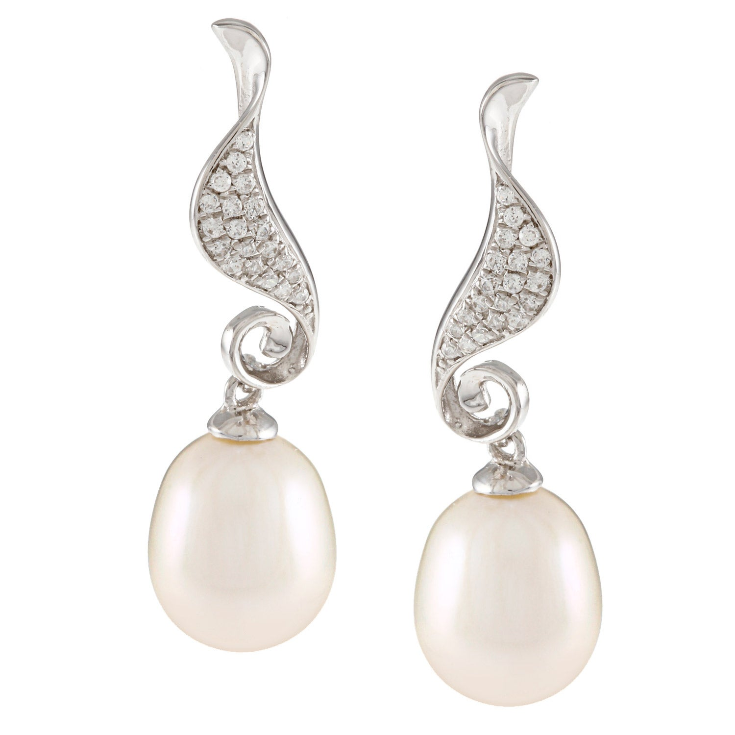Kabella Sterling Silver Drop Freshwater Pearl with Cubic ...