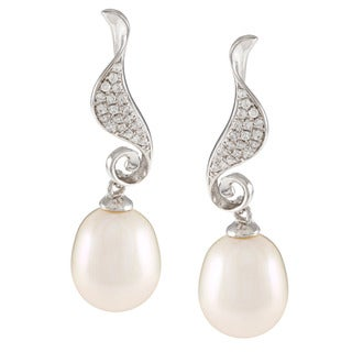 Kabella Sterling Silver Drop Freshwater Pearl with Cubic Zirconia Seahorse Twist Earrings (9-10mm)
