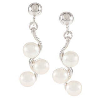 Kabella Sterling Silver 3-Button Freshwater Pearl Dangle Earrings (5-6mm)