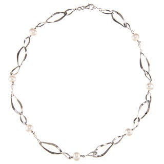 Kabella Sterling Silver Freshwater Pearl Long Irregular Shape Link Necklace