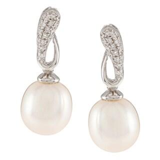 Kabella Sterling Silver Freshwater Pearl with Cubic Zirconia Loop Earrings (9-10mm)