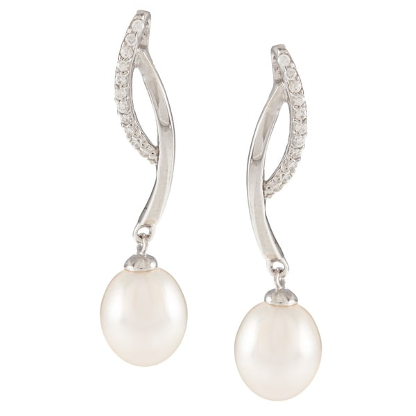 Kabella Sterling Silver Freshwater Pearl with Single-row Cubic Zirconia Braided Earrings (7-8mm)