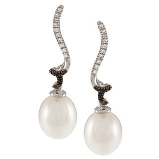 Kabella Sterling Silver Drop Freshwater Pearl Black and White Cubic Zirconia Curl Earrings (