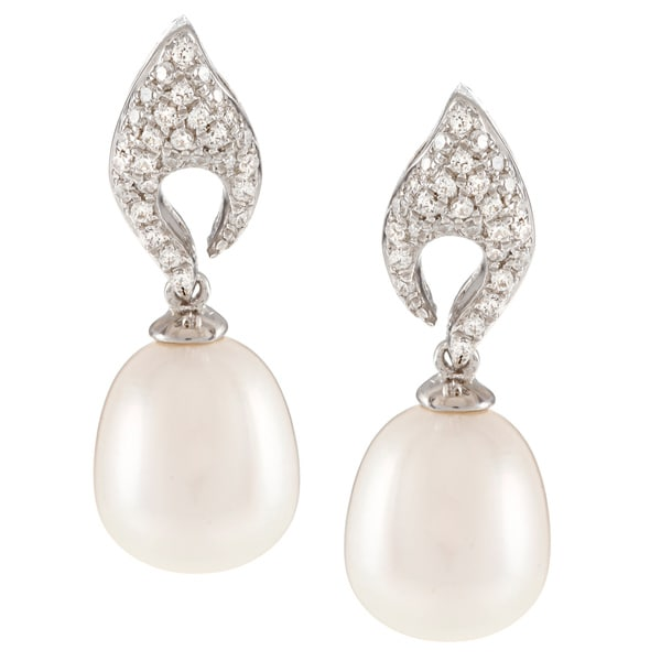 Kabella Sterling Silver Drop Freshwater Pearl with Cubic Zirconia Open Leaf Earrings (9-10mm)