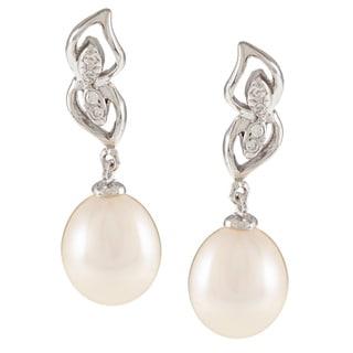 Kabella Sterling Silver Drop Freshwater Pearl with Cubic Zirconia Mirror Leaf Earrings (8-9mm)