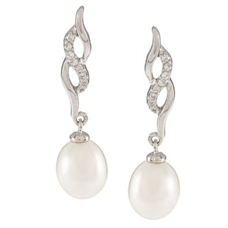 Kabella Sterling Silver Freshwater Pearl with Cubic Zirconia Twist Earrings (7-8mm)