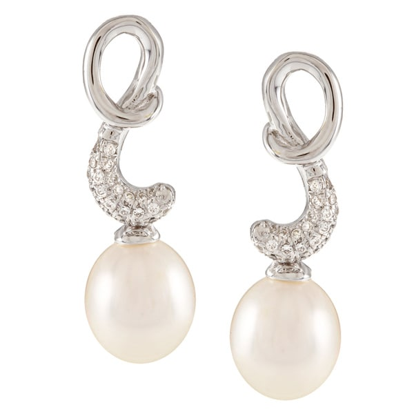 Kabella Sterling Silver Drop Freshwater Pearl with Cubic Zirconia Twirl Earrings (9-10mm)