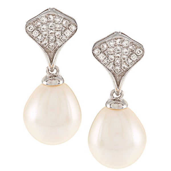 Kabella Sterling Silver Drop Freshwater Pearl and Cubic Zirconia Fan Earrings (9-10mm)