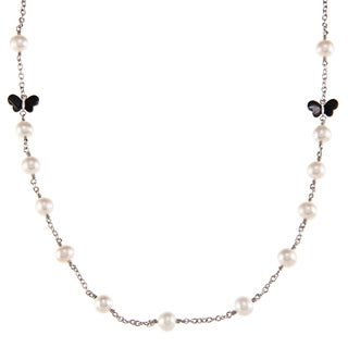 Kabella Sterling Silver Freshwater Pearl with Butterfly Shape Black Agate Necklace