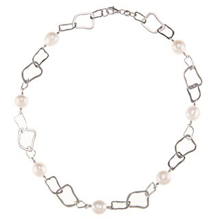 Kabella Sterling Silver Freshwater Pearl Square Link Necklace