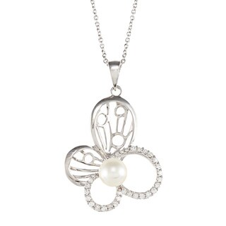 Kabella Sterling Silver Freshwater Pearl and Cubic Zirconia Butterfly Necklace (7-7.5 mm)