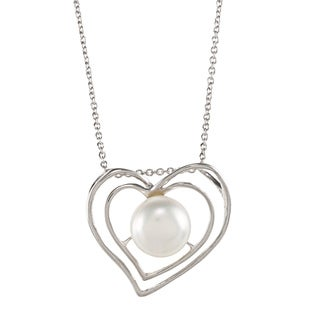 Kabella Sterling Silver FW Button Pearl Double Heart Necklace (9.5-10 mm)