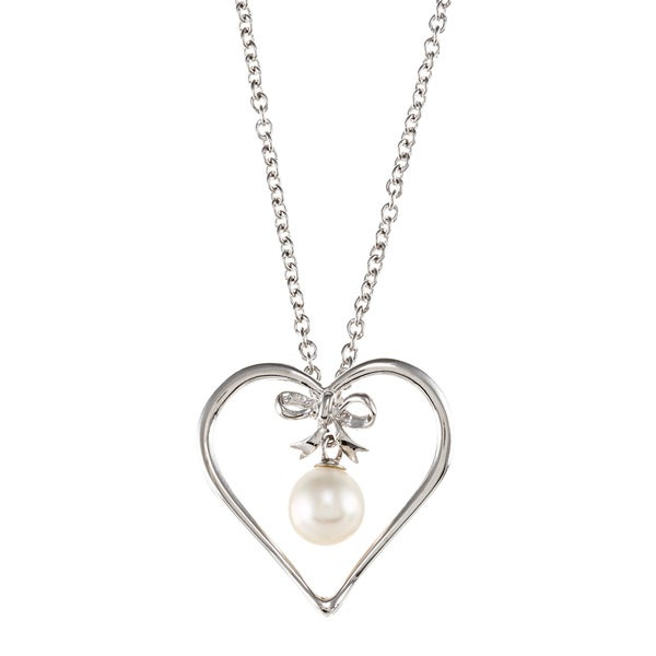Kabella Sterling Silver Freshwater Pearl Heart and Ribbon Necklace (7-7.5 mm)